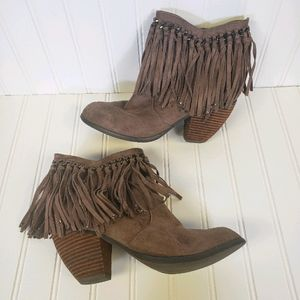 Not Rated Heeled Fringe Vegan Leather Bootie